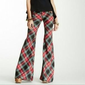 NWT Free People Red Lea Flare Plaid Pants Green 12
